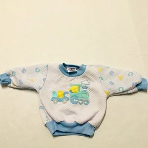 5/$25 Vintage NoveltyKnit train pullover top 6-9 M